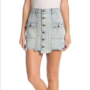 NWT Sneak Peek Distressed Utility Denim Jean Skirt